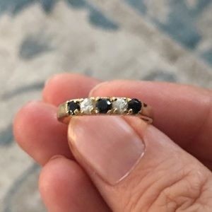 Genuine blue and white sapphire gold-plated band